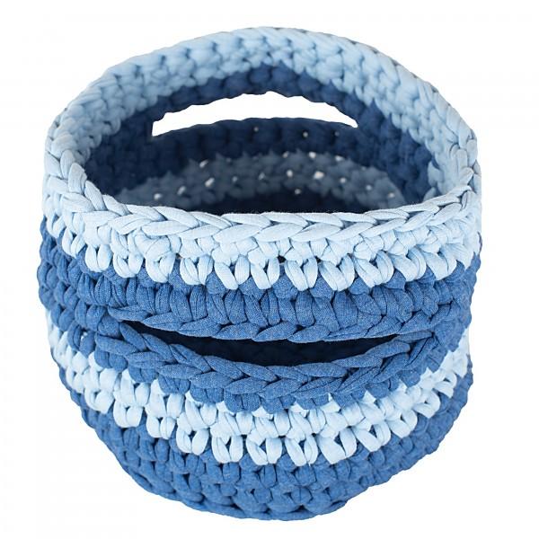 Häkelkörbchen Blau mittelgroß